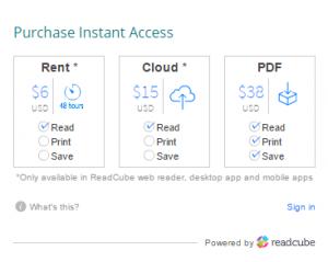 Gráfico de precios por alquiler, guardar en la nube y descargar de un artículo en Wiley