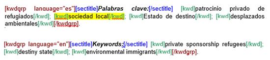 Error de concordancia en el número de palabras clave empleadas en un artículo marcado para SciELO